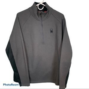 Spyder half zip mens grey pullover sz L